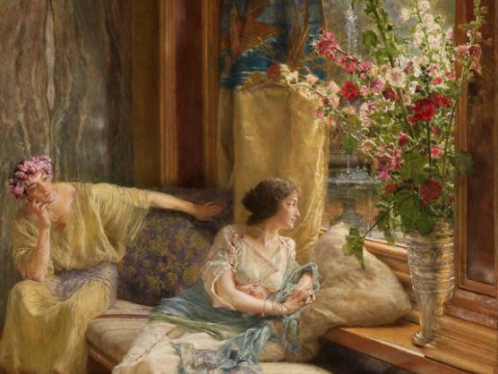 Sir Lawrence Alma-Tadema, Courtiser sans espoir, huile sur toile, 1900, 76,6 x 41 cm, Mexico, Collection Pérez Simón.