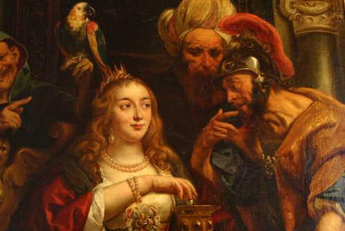 Jacob Jordaens, Détail, Le Banquet de Cléopâtre, 1653, huile sur toile, musée de l'Ermitage, Saint-Pétersbourg.