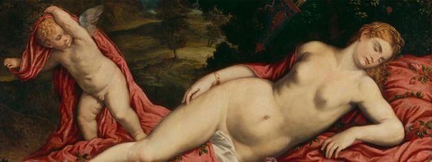 Pâris Bordone, Vénus endormie et Cupidon. Peinture sur toile, 86 x 137 cm. Venise, collection G. Franchetti à la Cà d'Oro