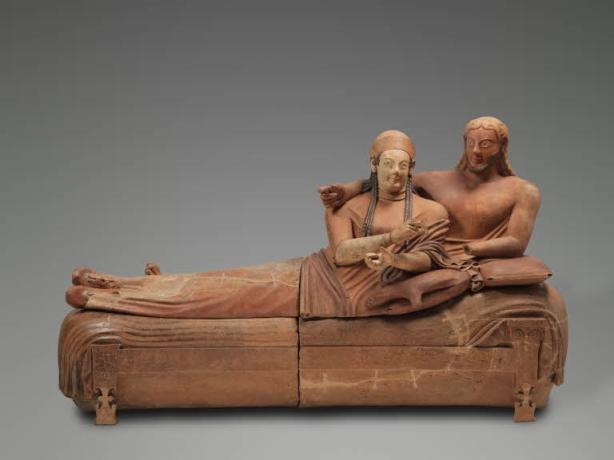 """Sarcophage, dit """"Sarcophage des époux'', vers 520 - 510 av. J.-C., musée du Louvre, Paris"""