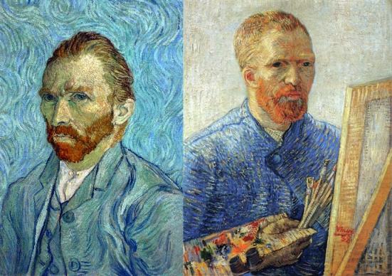 Vincent van Gogh, Portrait de l'artiste, 1889, huile sur toile, H. : 65 cm. ; L. : 54,5 cm. © Musée d'Orsay, dist.RMN-Grand Palais / Patrice Schmidt. Vincent Van Gogh, Portrait de l'artiste au chevet, 1887-1888, huile sur toile, H. : 65,5 cm. ; L. : 50,5 cm.  © Van Gogh Museum (Fondation Vincent Van Gogh), Amsterdam.