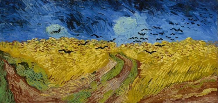 Vincent Van Gogh, Champ de blé aux corbeaux, 1890, huile sur toile, H. : 50,5 cm. ; L. : 100,5 cm. Collection Van Gogh Museum, Amsterdam.  © DeAgostini / Leemage.
