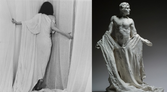 Robert Mapplethorpe, Patti Smith (1979) / Auguste Rodin, Les Bourgeois de Calais : Jean de Fiennes (vers 1885) © 2014 Robert Mapplethorpe Foundation © Paris, Musée Rodin, photo Christian Baraja