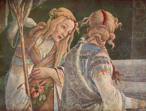 Botticelli, Détail des épreuves de Moïse, Zéphora, fille de Jethro, fresque, Chapelle Sixtine, 1481