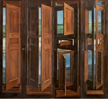 Armoire surréaliste peinte par Marcel Jean, 1941,bois peint verni - Trompe l'oeil