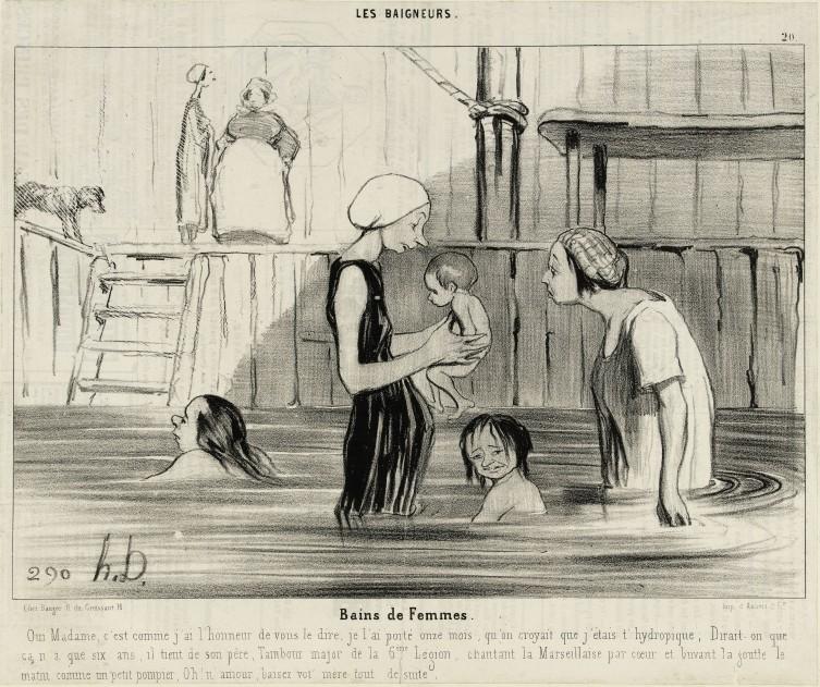 Honoré Daumier (1808-1879); Bains de femmes, lithographie, Le Charivari 13 juin 1841, Paris, Maison de Balzac. © Maison de Balzac / Roger-Viollet.
