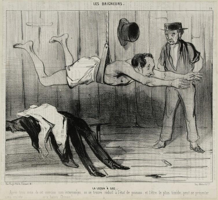 Honoré Daumier (1808-1879), La Leçon à sec, lithographie, Le Charivari 30-31 mai 1841, Paris, Maison de Balzac. © Maison de Balzac / Roger-Viollet.