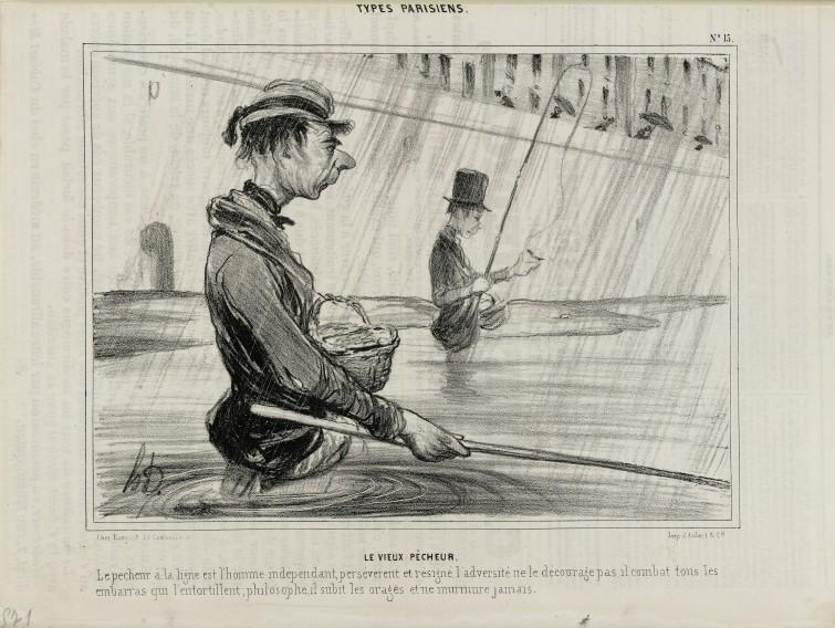 Honoré Daumier (1808-1879), Le Vieux pêcheur, lithographie, Le Charivari 10 juillet 1841, Paris, Maison de Balzac. © Maison de Balzac / Roger-Viollet.