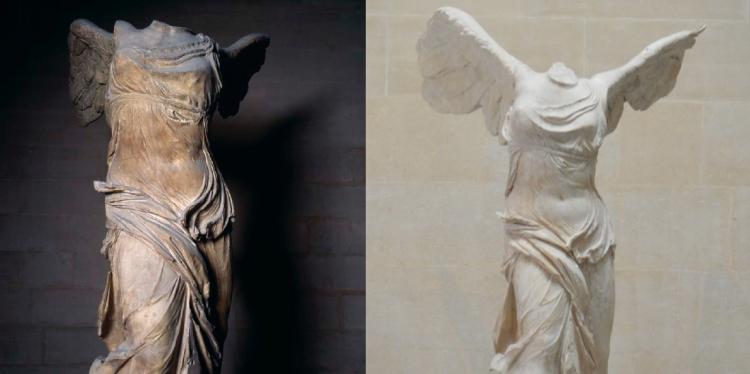 La Victoire de Samothrace avant et après restauration. À droite : © 2006 Musée du Louvre / Daniel Lebée et Carine Deambrosis. À gauche : © Damien Tellas.