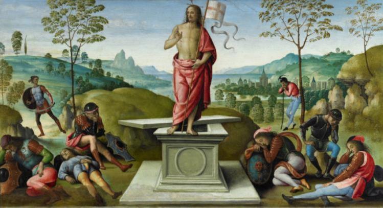 Le Pérugin, La Résurrection, 1496-1500, huile sur bois, 40 x 67 cm, Rouen, Musée des Beaux-Arts. © C.Lancien, C.Loisel / Musées de la ville de Rouen