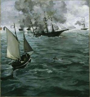"""Edouard Manet, Bataille du """"Kearsarge"""" et de 'l'Alabama"""", 1864, Huile sur toile, 137,8cm x 128,9cm, Philadelphie, Philadelphia Museum of Art"""
