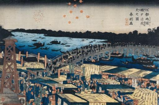 Katsushika Hokusai, La,Foule des spectateurs pour la présentation des acteurs à l'ouverture de la saison, ca 1810