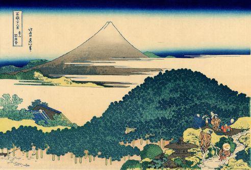 Katsushika Hokusai, Le pin-coussin à Aoyama