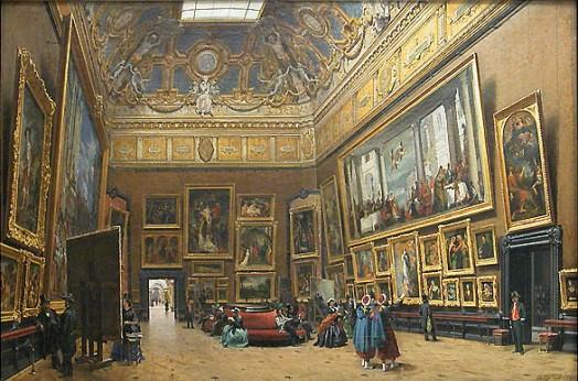 """Giuseppe CASTIGLIONE, """"Vue du grand Salon carré, au musée du Louvre"""" Salon de 1861, Paris, musée du Louvre."""