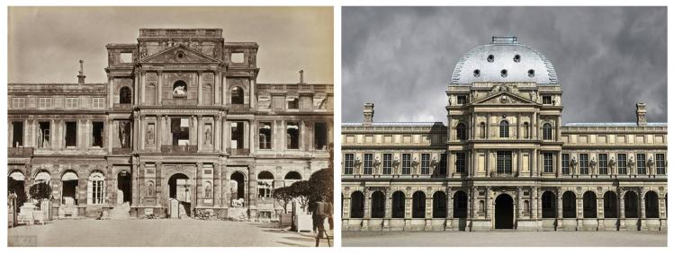 Palais des Tuileries, pavillon de l'horloge, état en 1871, façade est, côté cour. À droite : reconstitution de cette même vue.