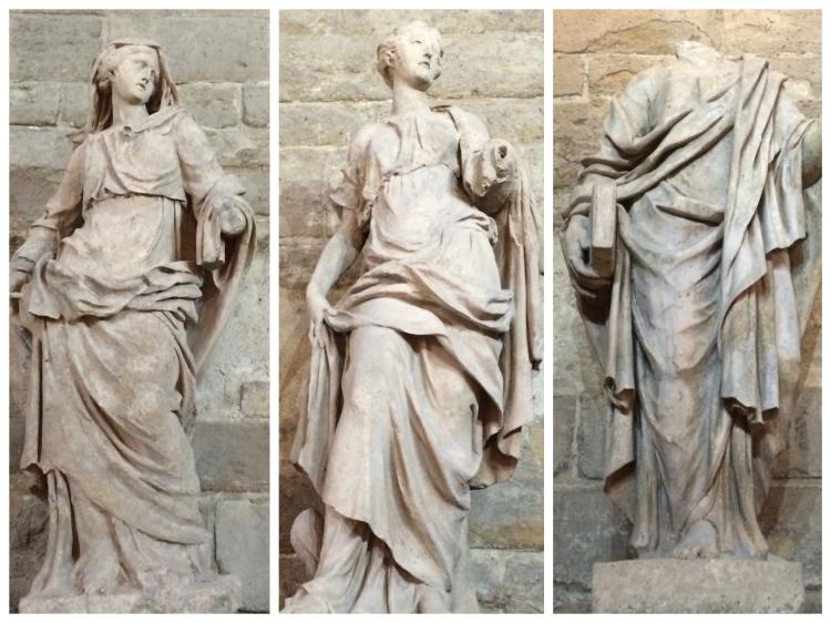 De gauche à droite : La Religion (Philippe de Buyster), La Sincérité (attr. à Louis Larembert) et Le Conseil (Thibault Poissant). ©Damien Tellas.