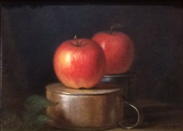 William Sidney Mount, Composition de fruits : pommes sur des pichets en étain, 1864, huile sur carton, Chicago, Terra Foundation for American Art.