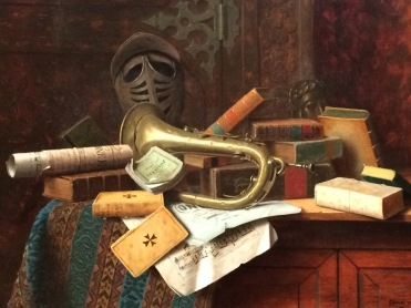 Wiliam Michael Harnett, Nature morte au buste de Dante, 1883, huile sur toile, Atlanta, High Museum of Art.