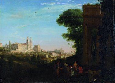Claude Gellée, dit le Lorrain Vue de Rome avec une scène de prostitution, 1632 Huile sur toile, 60,3 x 84 cm © Londres, The National Gallery