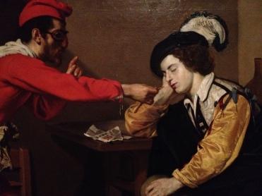 Nicolas Régnier, Farce carnavalesque, vers 1617-1620, huile sur toile, Rouen, musée des Beaux-Arts
