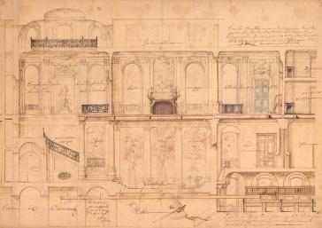 Gilles-Marie Oppenord, Projet pour la maison de Pierre-Nicolas Gaudion, v. 1732, dncre noire, encre métallo-gallique, lavis d'encre sur papier chiffon, 131 x 152 cm, © Les Arts Décoratifs, Paris