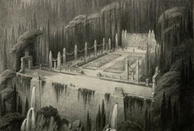 Achille Duchêne et Brabant, Jardin de rêve : Intérieur de cratère en Islande, théâtre de verdure, après 1935, pierre noire, rehauts de blanc, 41,9 x 59,5 cm. © Les Arts Décoratifs, Paris