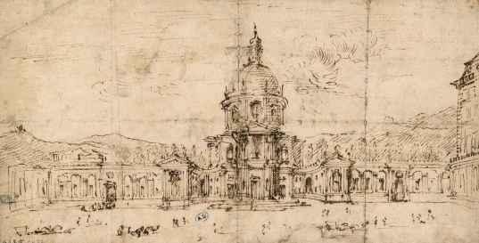 Filippo Juvarra, Premier projet pour la chapelle Saint Hubert à la Venaria Reale, Turin, v. 1716, 15,9 x 31,3 cm. © Les Arts Décoratifs, Paris.