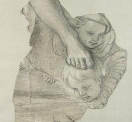 Charles Le Brun, Jambe ; deux têtes d'angelots, vers 1674, carton pour le décor de la chapelle du château de Sceaux, Paris, musée du Louvre. © RMN-Grand Palais (musée du Louvre) / Martine Beck-Coppola