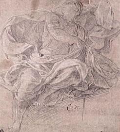 Charles Le Brun, Femme drapée assise : l'Aurore, Vers 1672-1674. Etude pour le décor du pavillon de l'Aurore à Sceaux, Paris, musée du Louvre. © RMN-Grand Palais (musée du Louvre) / Michèle Bellot