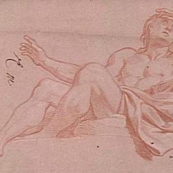 Charles Le Brun, Jeune homme demi-nu assis (Bacchus), Vers 1672-1674. Etude pour le décor du pavillon de l'Aurore à Sceaux, Paris, musée du Louvre. © RMN-Grand Palais (musée du Louvre) / Michèle Bellot