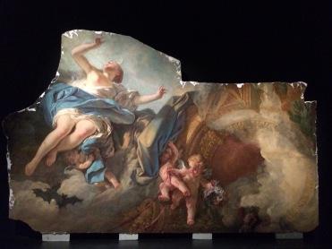 Louis-Jacques Durameau (1733-1796), Le Lever de l'Aurore (fragment), vers 1768-1769, plafond pour la chambre à coucher. © Damien Tellas