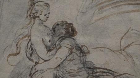 Jean-Honoré Fragonard, Alcine rejoint Roger dans sa chambre, vers 1780 (détail)