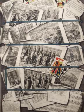 Dumesnil, Evénements de l'année 1713 Chez Gilles Demortain, 1714, burin, Paris, Bibliothèque nationale. © BnF, Estampes et photographie