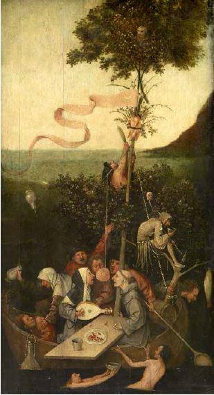 Jérôme van AKEN dit Bosch, Allégorie de la gourmandise, dite La Nef des fous (Avant restauration)
