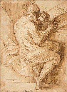 Parmigianino, Vieil homme barbu, assis, consultant un in-folio, plume et encre brune, lavis brun, 26,3 x 19,1 cm., Paris, musée du Louvre. © RMN-Grand Palais - M. Urtado