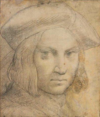 Parmigianino, Portrait d'homme, pierre noire, stylet, rehauts de blancs, lavis beige, 34,2 x 29,2, Paris, musée du Louvre. © RMN-Grand Palais - M. Urtado.
