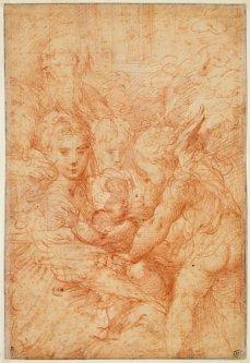 Le Parmesan, La Sainte Famille avec deux anges et un vieil homme (recto), sanguine, 18,6 x 12,1 cm., Paris, musée du Louvre. © RMN-Grand Palais - M. Urtado