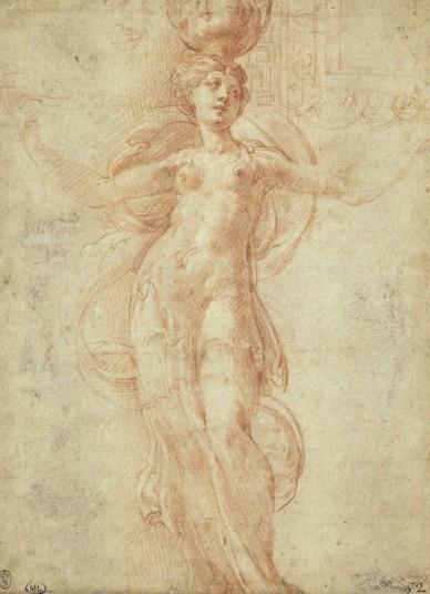 Parmigianino, Canéphore, de face, et étude d'un compartiment décoratif en haut à droite, sanguine avec rehauts de blancs, 17,1 x 12,6 cm., Paris, musée du Louvre. © RMN-Grand Palais - M. Urtado.