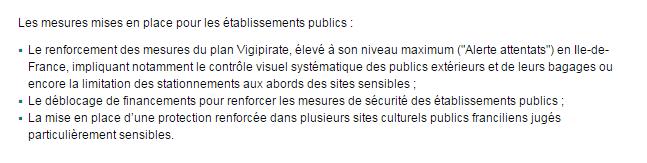 Extrait du communiqué du ministère de la Culture pour renforcer la sécurité suite aux attentats du 13 novembre
