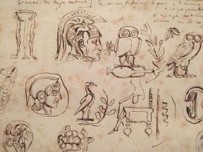 Eugène Delacroix, Quinze médailles antiques et notes manuscrites, 1824-1825