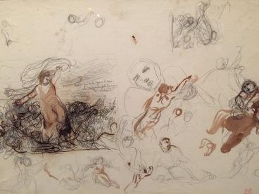 Eugène Delacroix, Feuille d'études pourLa Grèce sur les ruines de Missolonghi, vers 1826