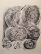 Eugène Delacroix, feuille de sept médailles antiques, 1825, lithographie, 3ème état,