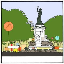Martin Etienne, dessin du projet de la place de la République, agence TVK