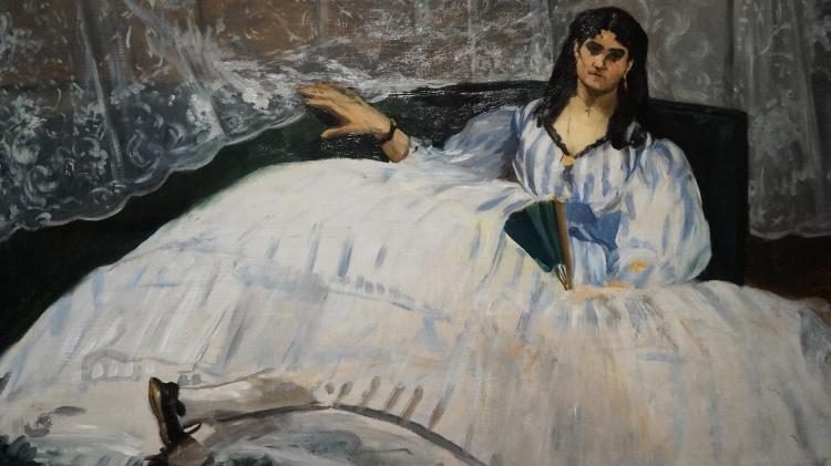 Edouard Manet, La Dame à l'éventail ou La Maîtresse de Baudelaire, 1862 (détail)