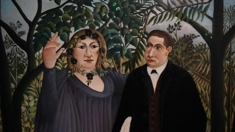 Henri Julien Félix Rousseau, dit Le Douanier Rousseau, La muse inspirant le poète, 1908-1909 (détail) / Marie Laurencin et Guillaume Apollinaire
