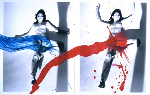 Amour de KaoRi (KaoRi Love) 2007 peinture acrylique sur deux tirages noir et blanc H. 55,9 cm ; L. 91,4 cm collection privée, New York, © Nobuyoshi Araki/eyesencia