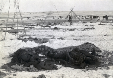 Vue après la bataille de Wounded Knee
