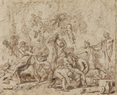 Nicolas Poussin Étude pour une bacchanale et Quatre études d'un groupe de femme et enfants s'approchant d'un Silène endormi, plume et encre brune, vers 1635