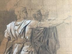 Jacques-Louis David, Étude pour le serment des Horaces, pierre noire et rehauts de craie blanche sur papier chamois, mis au carreau, 1785