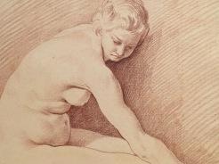 Edme Bouchardon, Étude de femme nue assise, vers 1739, sanguine, Stockholm, Nationalmuseum.